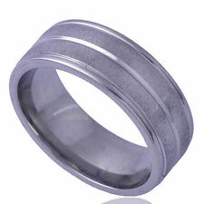 B1215 Carved Pattern Men's Band Ring White Gold Filled  Size 9#