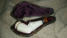 Antique Meerschaum Pipes in their Original Cases Ladys leg tobacco free shipping