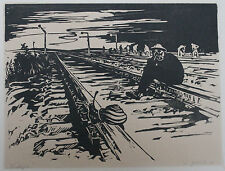 "GERMAN PRINTMAKING, 1949  Walter Glinka. ""Analogie."" Woodcut in black."