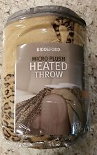Biddeford Micro Plush Heated Electric Throw Blanket (Leopard) - BRAND NEW!