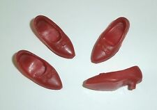 """Vintage 12"""" IDEAL TAMMY RED BOW LOW KITTEN HEEL SHOES (2 Prs) Japan *Fits Sindy"""