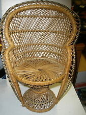 "Vintage Collectable Large Wicker Fan Back Chair 15 3/4"" Tall Dolls, Bears"
