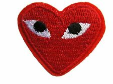 Red Heart with Eyes Iron On Applique Patch 1.75 Inch