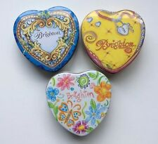 Lot of 3 Brighton Jewelry Storage Boxes Empty Heart Shaped Tin Box