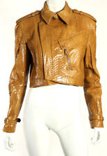 RALPH LAUREN BLACK LABEL Caramel Lacquered Python Skin Motorcycle Jacket 10