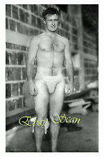 VINTAGE 1940's PHOTO SEXY NUDE MAN POSES IN JOCK STRAP IN ALLEY GAY INTEREST 140
