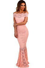 Stunning Off Shoulder Pink Lace Fishtail Mermaid Maxi Dress 8 10 12 14 16 UK