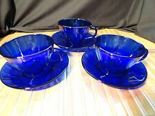 VERECO FRANCE Cobalt Blue Cups and Saucers, Set of 3