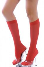 Red stockings knee high opaque socks fancy dress party costume 8 10 12 O/S