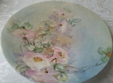 ANTIQUE HAND PAINTED PINK DOGWOOD  ROSES JPL LIMOGES FRANCE PORCELAIN PLATE