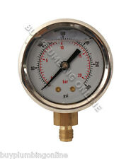 Oil Pressure Gauge 20 Bar Glycerine Filled 1/8""