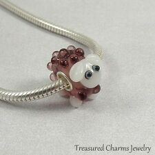 Sheep Lamb Lampwork Glass Large Hole Bead Charm fits European Bracelets