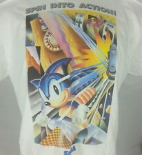 Sonic Spinball RARE L Large Promotional Sega Graphic T-Shirt Hedgehog Action