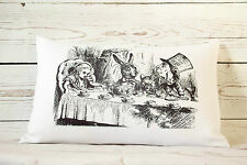 """Hatter's Teaparty - 12 x 18 """" lumbar style cushion cover Alice in Wonderland"""