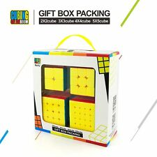 4PCS 2x2 3x3 4x4 5x5 Speed Cube Stickerless Puzzle Gift Box Set Educational Toy