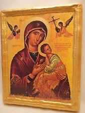 Virgin Mary Amolyndos Byzantine  Greek Orthodox Church Icon on Pine Wood Plaque