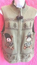 HEIRLOOM COLLECTIBLES Ugly Christmas Zip Up Sweater Vest Sz XL Bears Trees Beads