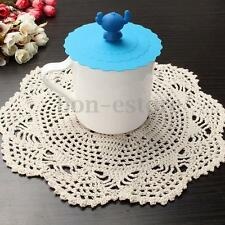 New White Yarn Handmade Crochet Pure Cotton Lace Doily Placemat Round 28CM Beige