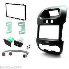 CT23FD37C FORD RANGER 2012 ONWARDS BLACK DOUBLE DIN FACIA ADAPTER PANEL
