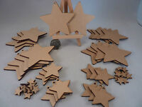 Wooden MDF Star shape, craft blank cutouts for decoration, plaques and Christmas