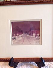 Artist Richard Sheehy small framed Capitol Hill landscape snow NICE watercolor