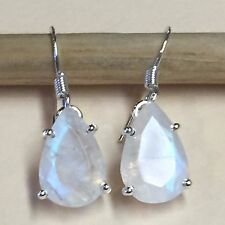 Natural Rainbow Moonstone 925 Solid Sterling Silver Pear Earrings 25mm