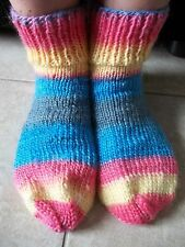 Hand knitted cozy & warm  100% wool socks, happy yellow/pink/blue