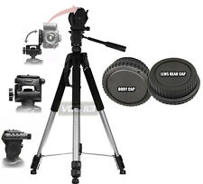 "72"" TRIPOD  FOR CANON REBEL T6i T5i T4i T3i T2i T1i XSi + BODY & LENS REAR CAP"