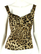 DOLCE & GABBANA Leopard Print Silk Crepe Ruched Bust Sleeveless Top 42