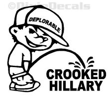 "6"" DEPLORABLE Calvin Pee Piss on ""CROOKED HILLARY"" Clinton Decal Window Sticker"