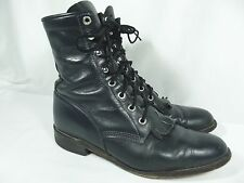 Vintage USA Justin Womens 7B Blue Leather Kiltie Lace Up Cowboy Ankle Boots