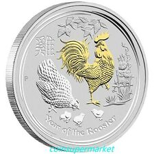 2017 Australian Lunar Year Of The Rooster 1oz Silver Gilded Edition Perth Mint!!