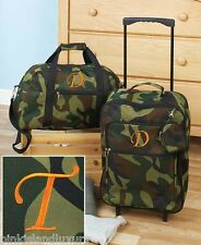 3pc LUGGAGE MONOGRAM T ROLLING SUITCASE DUFFEL BAG Camo Personalized Initial Kid