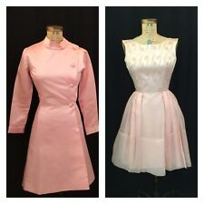 VINTAGE 1960's 2PC PINK SATIN DRESS AND COAT, FORMAL, WEDDING, PROM