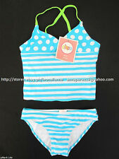 34% OFF!  AUTH CIRCO GIRLS 2pc POLKA STRIPES TANKINI SWIMSUIT SET XL 12/14 BNWT