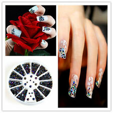 300X 3D Nail Art gems Pearl Crystal Glitter Rhinestone Decoration tips + Wheel