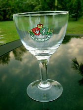 "DE KONINCK CASTLE, CROWN, GLOVED HAND LOGO  7"" HEAVY  STEMMED GLASS .25L"