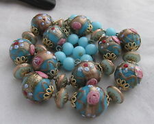 Vintage Venetian Art Glass Beads Blue Wedding Cake Beaded Necklace