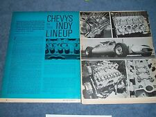 """1963 Chevy Vintage Tech Info Article """"Chevys in the Indy Lineup"""" 500"""