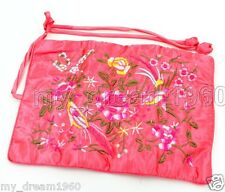 New SILK JEWELRY TRAVEL Storage BAG Roll Embroidered Flower Storage Bag zippers