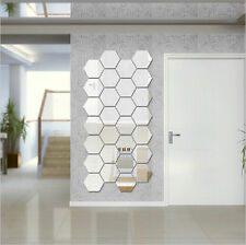 Trendy 12pcs Silver  Acrylic Hexagon Mirror Wall Sticker Decor 3D Art DIY Home