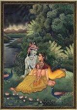 Krishna Radha Indian Decor Art Handmade  Ethnic Miniature Hindu Deity Painting