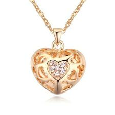 GORGEOUS 18K YELLOW GOLD PLATED & GENUINE SWAROVSKI CRYSTAL HEART NECKLACE