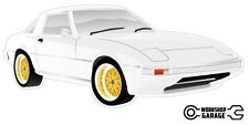 Mazda Rotary RX7 Series 1 2 3  Sticker - White with Gold Rims