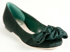 New  Christian Dior Dark Green Satin Upper Ballerina Shoes 35 US 5