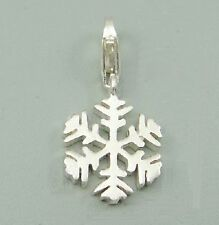 SNOWFLAKE - FROZEN - Christmas - Solid 925 sterling silver clip-on charm/pendant