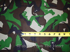 Pin Up Sexy Lady Girls Green Tan Blac Camo BY YARDS Alexaner Henry Cotton Fabric