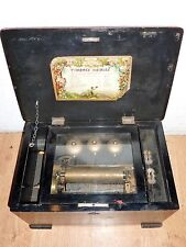 antique Swiss Cylinder musical box with 3 bells. needs restoration