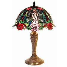 "Tiffany-Style Table Lamp Pink Angel & Red Roses Jewel Stained Glass Shade 21"" H"