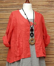 LAGENLOOK LINEN AMAZING BEAUTIFUL 2 POCKETS JACKET*RED*L-XL BUST  46-48-50""